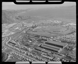 Petone and Gracefield, Lower Hutt, showing workshops and Hutt Park Raceway