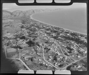 Raumati, Kapiti Coast District, showing housing and coastline