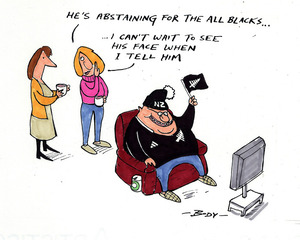 Body, Guy Keverne, 1967-:'He's abstaining for the All Blacks...' 18 August 2011
