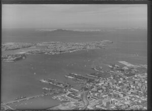 Auckland City and Harbour, showing Devonport and Rangitoto Island