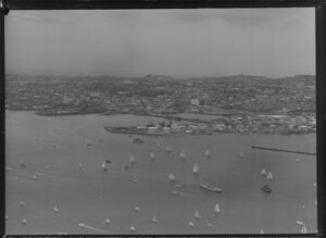 Yachting Regatta, Auckland Harbour, showing yachts and boats
