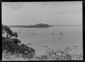 Yachting regatta off Bastion Point, Mission Bay, Auckland