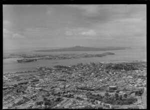 Auckland city, looking out towards Devonport and Rangitoto Island