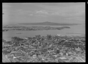 Auckland scene, including commercial area, waterfront and looking out towards Devonport and Rangitoto Island