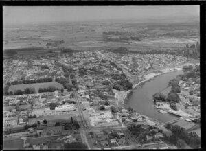 City scene, including Grey Street and Bridge street, Waikato River, Hamilton East, Waikato