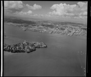 Stanley Point, Devonport, North Shore City, with Auckland City and Waitemata Harbour in the background