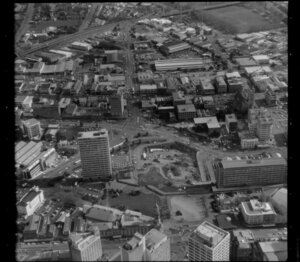 Auckland City Centre, Auckland, with Civic Administration Building and Town Hall at bottom of picture