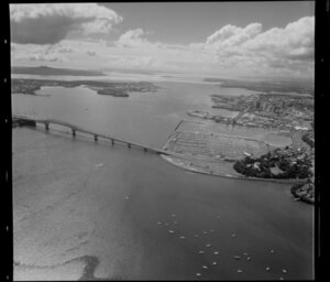 Waitemata Harbour, featuring Auckland Harbour Bridge and waterfront area