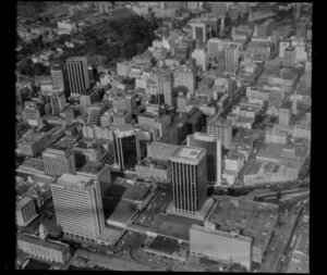 Auckland City Centre, Auckland, with Air New Zealand building prominent at lower left corner