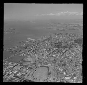 Auckland City, including Auckland wharves in the background
