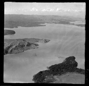 Raglan Harbour, near Waingaro Landing, Waikato, showing inner harbour with surrounding land