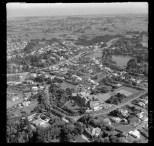 Wanganui, view over Sacred Heart Convent, with Virginia Lake and Great North Road, looking towards farmland and the coast beyond