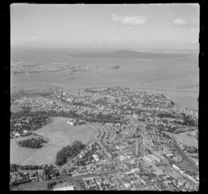 Auckland War Memorial Museum and Domain, including Rangitoto Island in the background