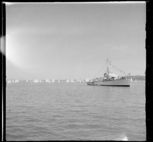 Yachting, Auckland Harbour Regatta, including unidentified ship in the foreground