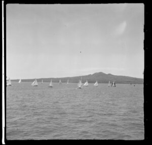 Yachting, Auckland Harbour Regatta, including Rangitoto Island in the background
