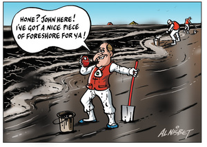 """Nisbet, Alistair, 1958- :""""Hone? John here! I've got a nice piece of foreshore for ya!"""" 15 October 2011"""