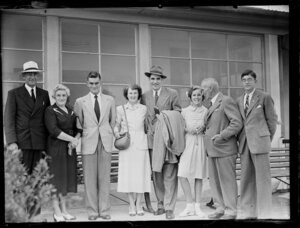 Captain J Burgess, British Overseas Airways Corporation, arriving with family members in Auckland