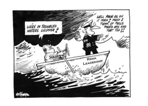 """Hubbard, James, 1949- :""""We're in troubled waters skipper!"""" 19 October 2011"""