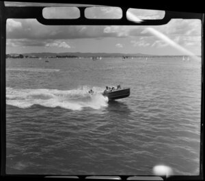 Auckland Regatta, including a speedboat and yachts on Auckland Harbour