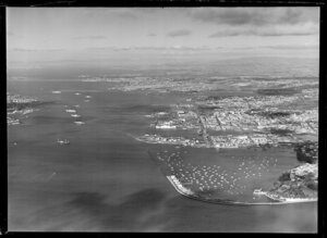 Auckland wharf area with shipping, Waitemata Harbour