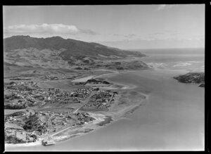 Raglan Harbour with township of Raglan, Mount Karioi, Waikato District
