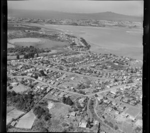 Northcote, North Shore, Auckland, showing Rangitoto Island in the distance