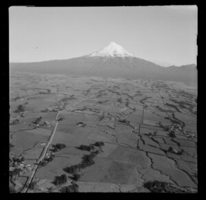 View to Mount Taranaki over farmland with tree grove wind breaks and farm buildings, with [Carrington Road] in foreground