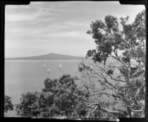 Rangitoto Island, Auckland from Bastion Point, showing boats