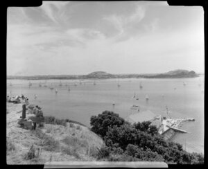 Yachting from Bastion Point, Auckland, showing boats