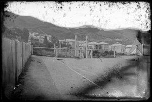 Hobson Street, Thorndon, Wellington, showing swing bridge and houses on Tinakori Road
