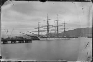 A large sailing ship at [Wellington?] wharves