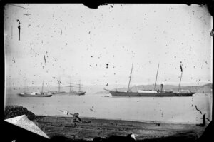 Steam ships and sailing ship, Lambton Harbour, Wellington