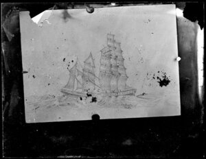 Drawing of two colliding sailing ships, signed by [SD? GD?] Mason, Perth
