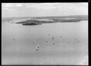 Yachting through the Rangitoto channel, North Head in background, Devonport, Auckland