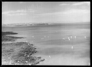 Yachts reaching Rangitoto Island, Auckland