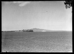Devonport, North Shore, Auckland with steamship 'Orsova' and Rangitoto Island