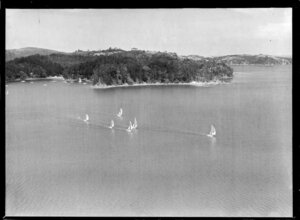 Yacht race, Hauraki Gulf, Auckland Region showing Kawau Island