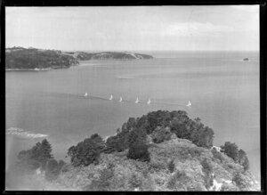 Yacht race, Hauraki Gulf, Auckland Region, with Kawau Island in the foreground