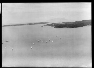 Yacht race, Hauraki Gulf, Auckland Region with Kawau Island (centre right) and Little Barrier Island in the background