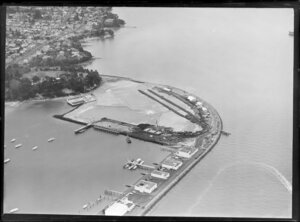 Westhaven, Auckland, showing site preparation for new harbour bridge with Westhaven Marina and Sarsfield Street