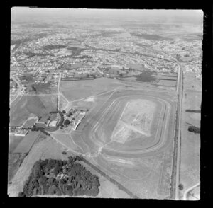 Te Rapa, Waikato, view over Te Rapa Racecourse, looking south over residential housing to Hamilton with Lake Domain Reserve beyond
