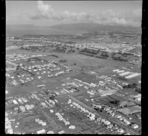 Carr Road, Mount Roskill, Auckland, including industrial area and golf links looking towards Blockhouse Bay