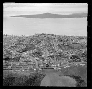 Kohimarama, Auckland, showing housing and Rangitoto Island