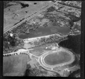 Western Springs, Auckland, showing stadium and lake