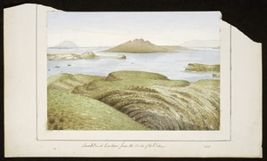Artist unknown :Auckland harbour, from the crater of Mt Eden. 1868