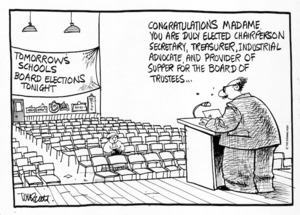 Scott, Thomas 1947- :Congratulations, madame. You are duly elected Chairperson, Secretary, Treasurer, Industrial advocate, and provider of supper for the Board of Trustees... Evening Post, 22 June 1992