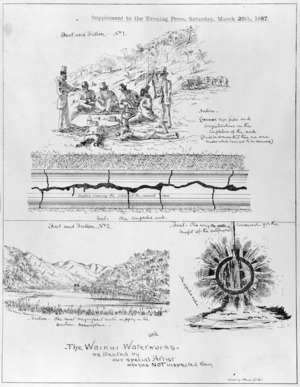 Richmond, Christopher William, 1821-1895 :The Wainui waterworks - as treated by our special artist who has NOT inspected them. [Wellington] The Evening Press, 1887.