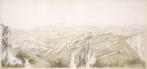 Norman, Edmund, 1820-1875 :Bird's eye view of the Mackenzie Country / E. Norman fct. - [Between 1862 and 1864].
