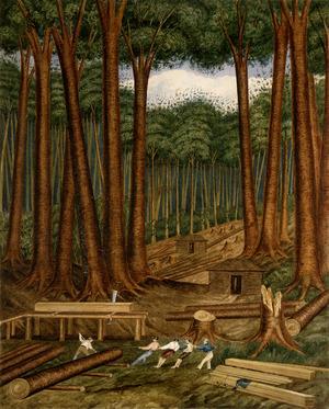 Heaphy, Charles 1820-1881 :Kauri forest, Wairoa River, Kaipara. [1839]