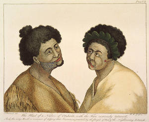 Parkinson, Sydney, 1745-1771 :The head of a native of Otaheite, with the face curiously tataow'd; and the wry manner of defying their enemies as practis'd by the people of that & the neighbouring islands. S. Parkinson del. R. B. Godfrey sc. London, 1784.